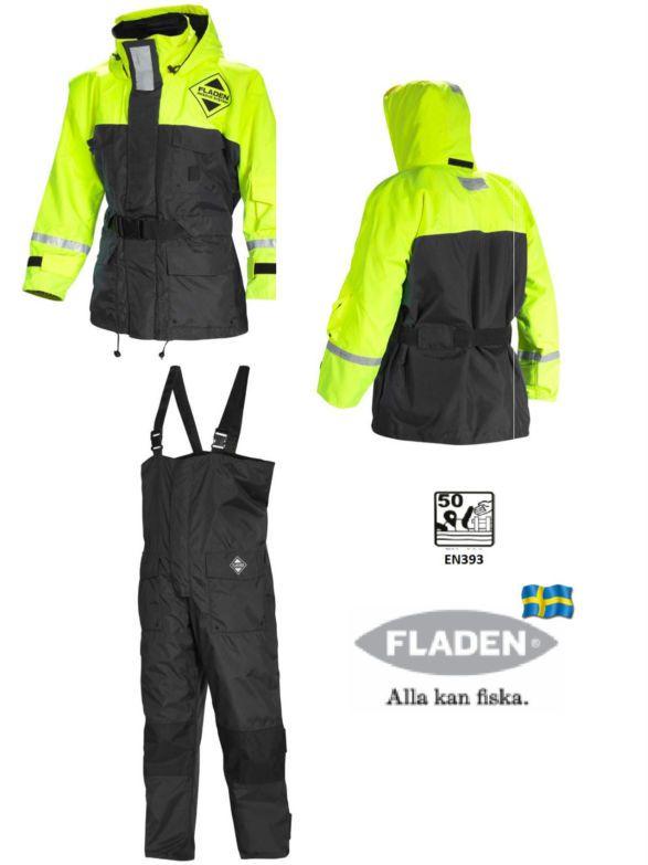 Fladen Schwimmanzug, Flotation Suite 846/847 gelb-schwarz 2tlg
