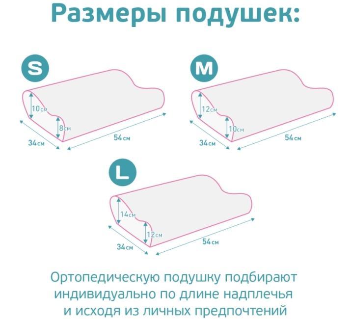 Какие размеры бывают у ортопедических подушек