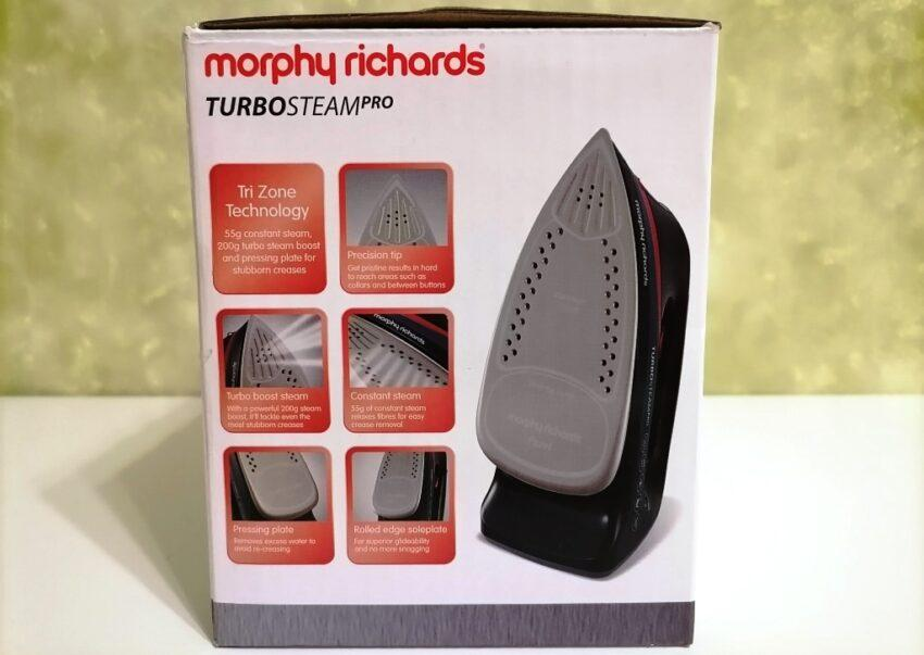 Фото упаковки с торца Morphy Richards Turbosteam Pro Electronic 303125