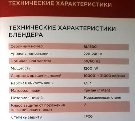 Технические характеристики Silanga BL1500 PRO