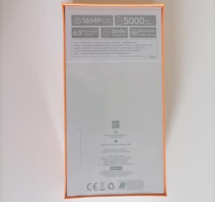Задняя часть упаковки Tecno Spark 7
