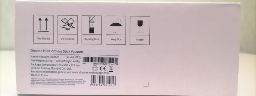 Технические характеристики на коробке Dreame P10